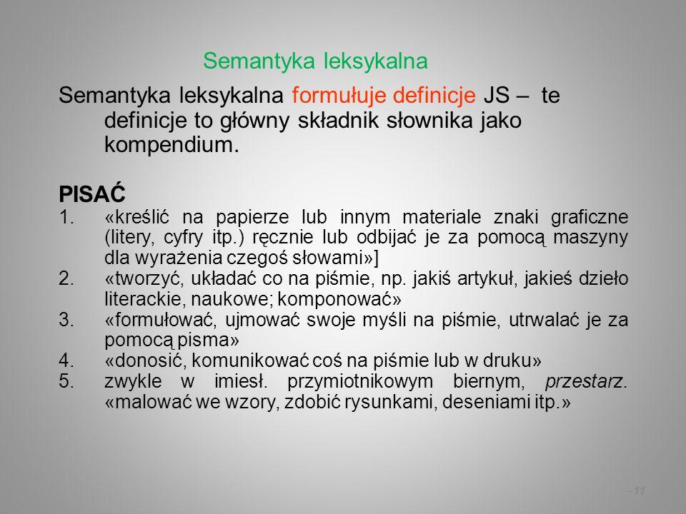 Semantyka leksykalna Semantyka leksykalna formułuje definicje JS – te definicje to główny składnik słownika jako kompendium.