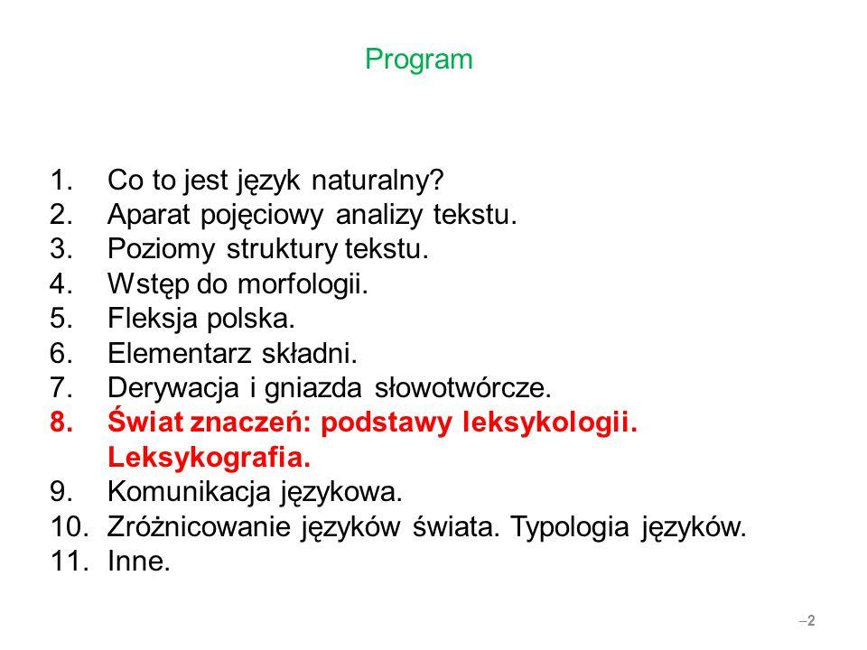 Program Co to jest język naturalny Aparat pojęciowy analizy tekstu. Poziomy struktury tekstu. Wstęp do morfologii.