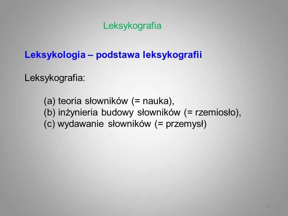Leksykografia Leksykologia – podstawa leksykografii. Leksykografia: (a) teoria słowników (= nauka),