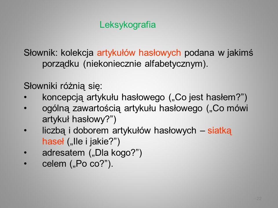 Leksykografia Słownik: kolekcja artykułów hasłowych podana w jakimś porządku (niekoniecznie alfabetycznym).