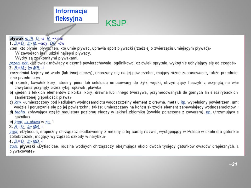 Informacja fleksyjna KSJP