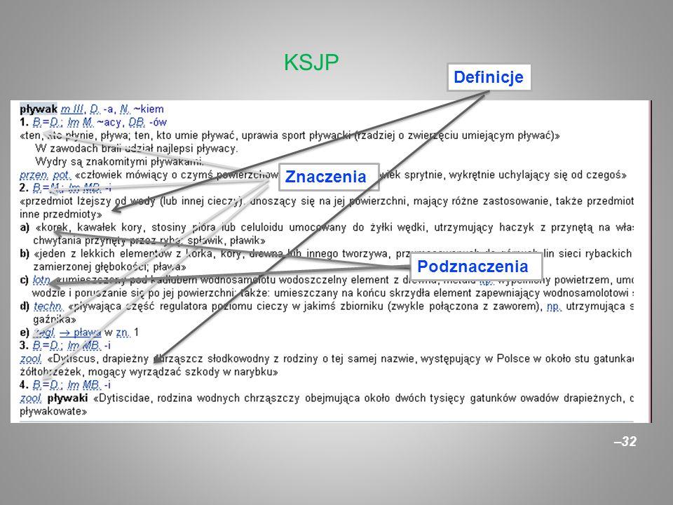 KSJP Definicje Znaczenia Podznaczenia