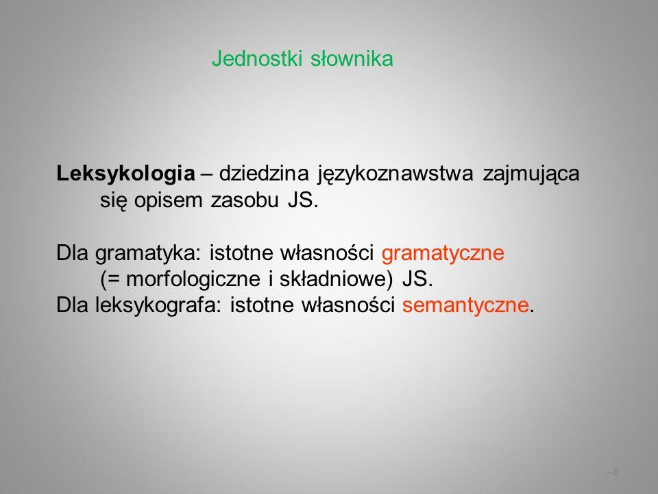 Jednostki słownika Leksykologia – dziedzina językoznawstwa zajmująca się opisem zasobu JS. Dla gramatyka: istotne własności gramatyczne.