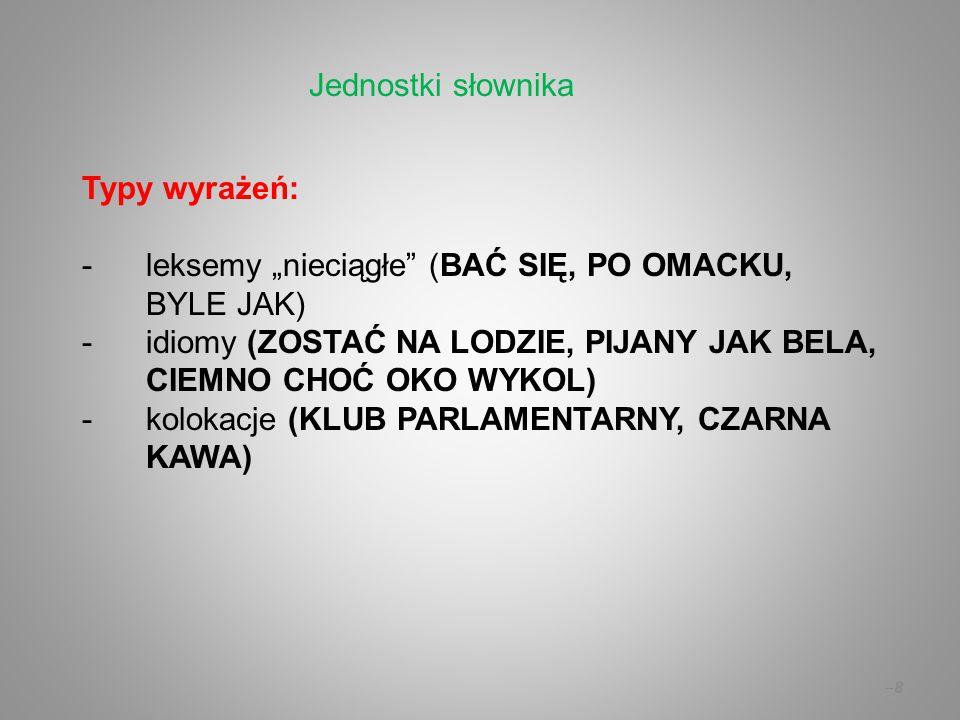 """Jednostki słownika Typy wyrażeń: leksemy """"nieciągłe (BAĆ SIĘ, PO OMACKU, BYLE JAK)"""