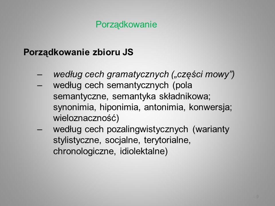 """Porządkowanie Porządkowanie zbioru JS. według cech gramatycznych (""""części mowy )"""