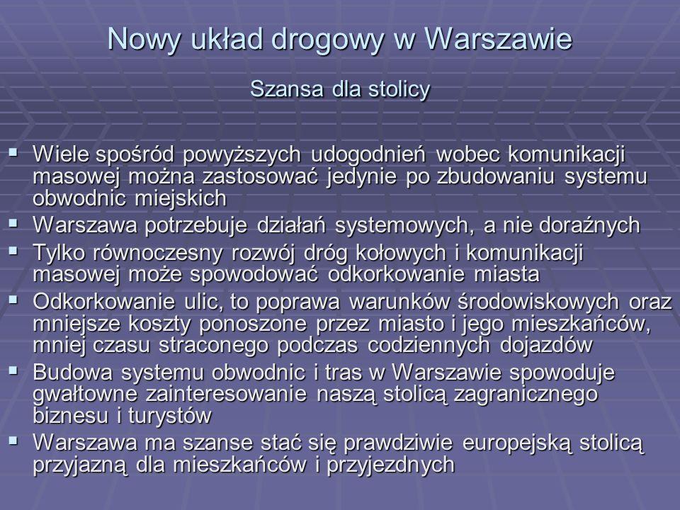 Nowy układ drogowy w Warszawie Szansa dla stolicy