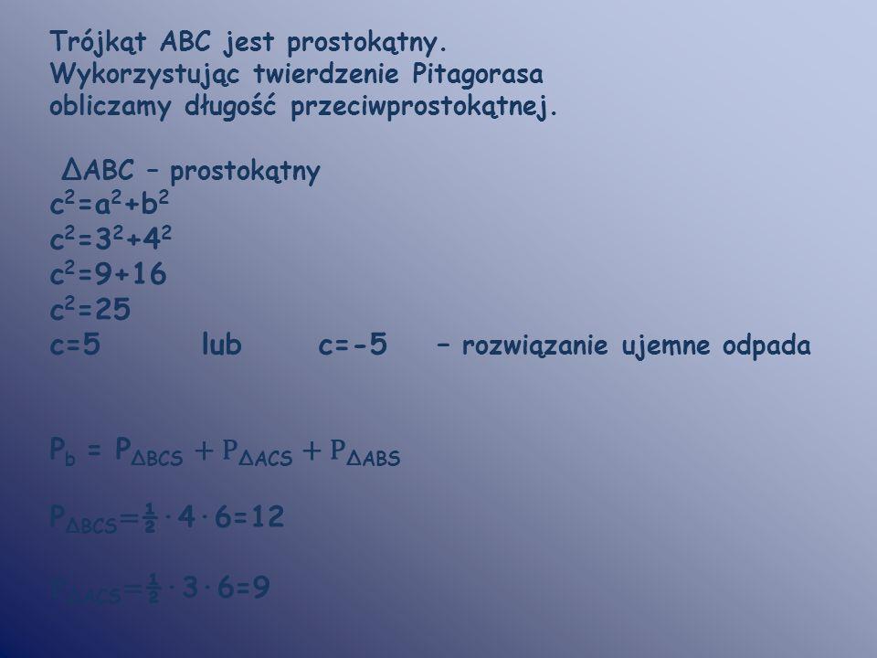 c=5 lub c=-5 – rozwiązanie ujemne odpada