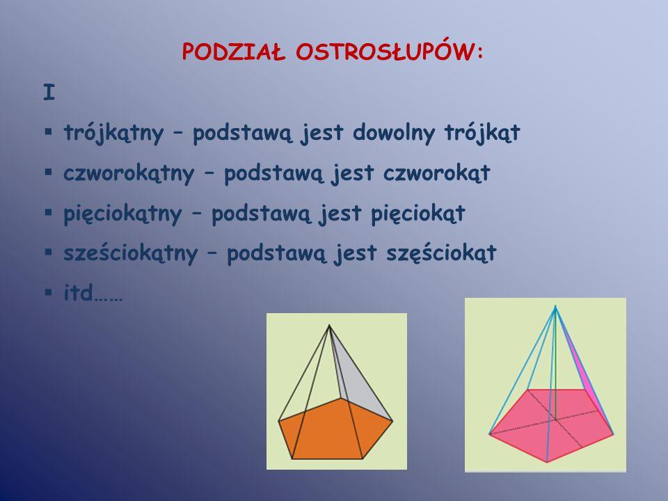 PODZIAŁ OSTROSŁUPÓW: I. trójkątny – podstawą jest dowolny trójkąt. czworokątny – podstawą jest czworokąt.
