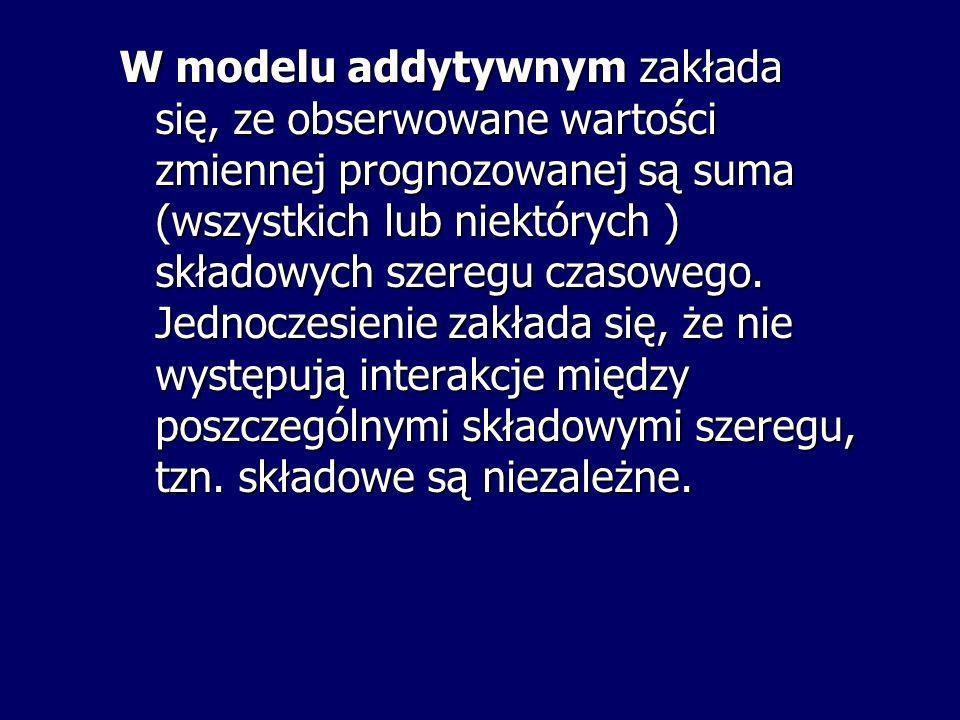 W modelu addytywnym zakłada się, ze obserwowane wartości zmiennej prognozowanej są suma (wszystkich lub niektórych ) składowych szeregu czasowego.