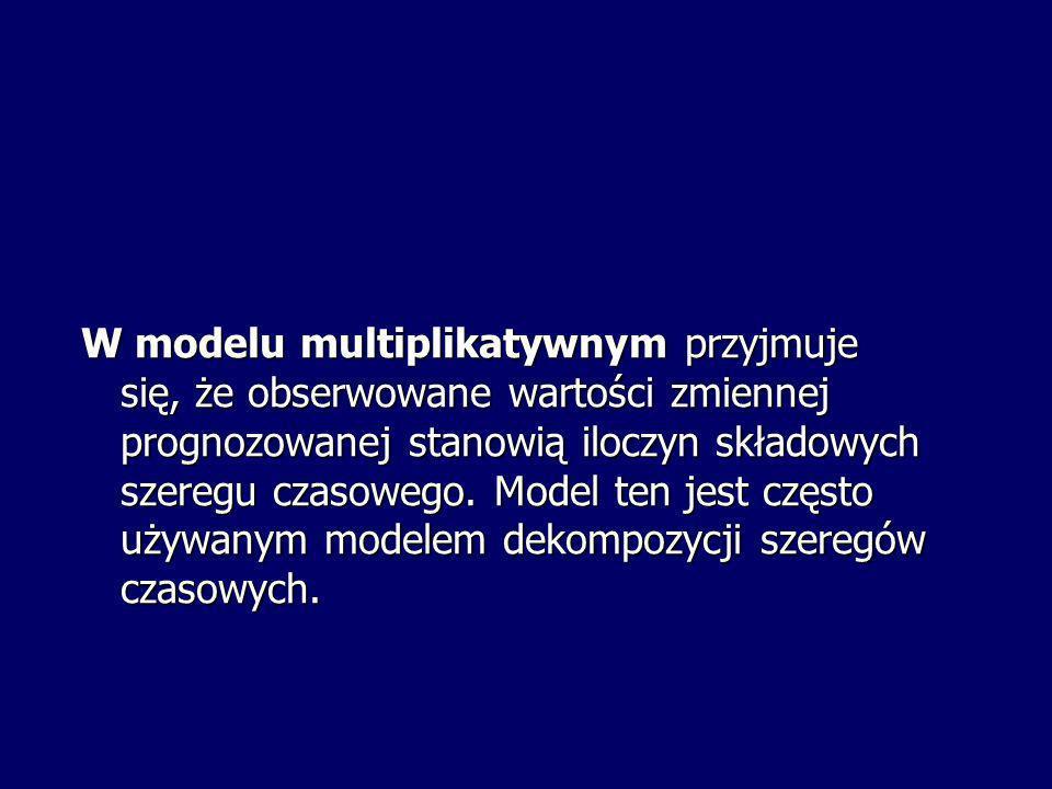 W modelu multiplikatywnym przyjmuje się, że obserwowane wartości zmiennej prognozowanej stanowią iloczyn składowych szeregu czasowego.