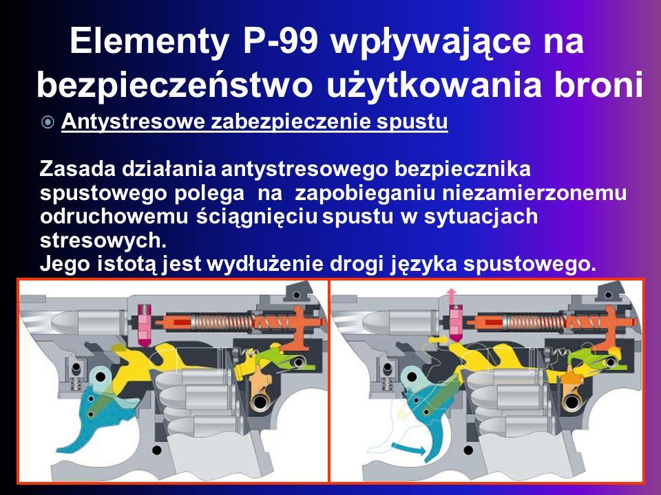 Elementy P-99 wpływające na bezpieczeństwo użytkowania broni