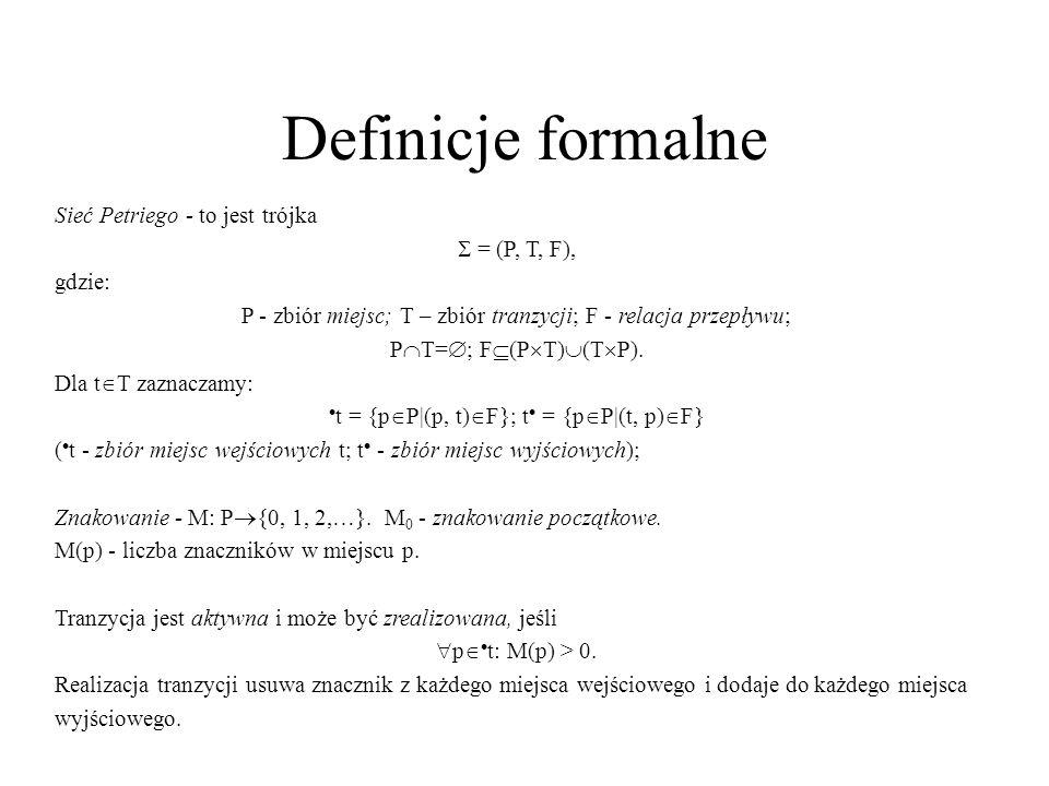 Definicje formalne Sieć Petriego - to jest trójka  = (P, T, F),