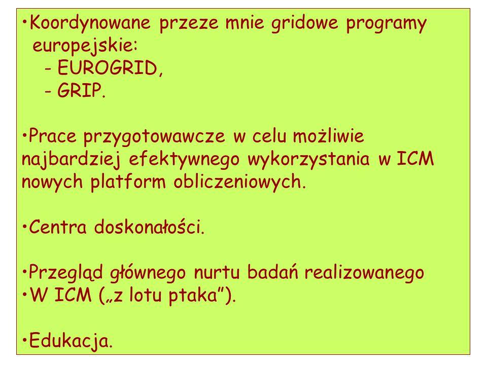 Koordynowane przeze mnie gridowe programy