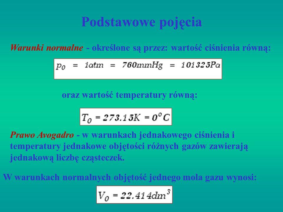 Podstawowe pojęcia Warunki normalne - określone są przez: wartość ciśnienia równą: oraz wartość temperatury równą: