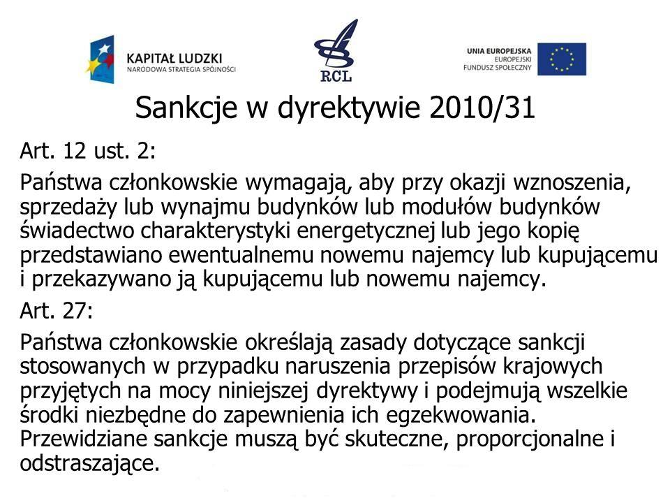 Sankcje w dyrektywie 2010/31 Art. 12 ust. 2: