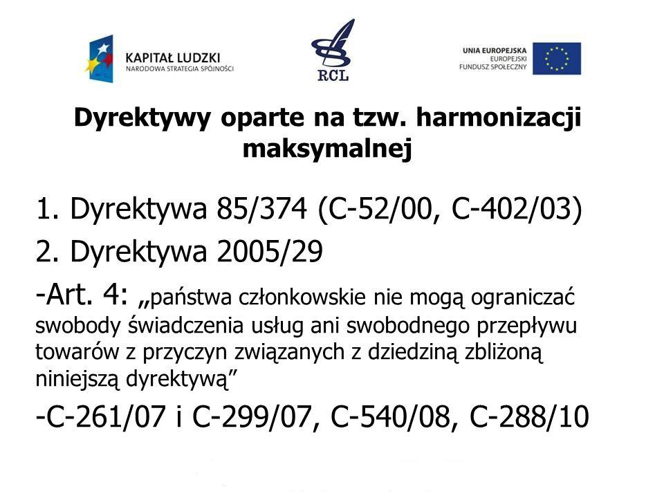 Dyrektywy oparte na tzw. harmonizacji maksymalnej
