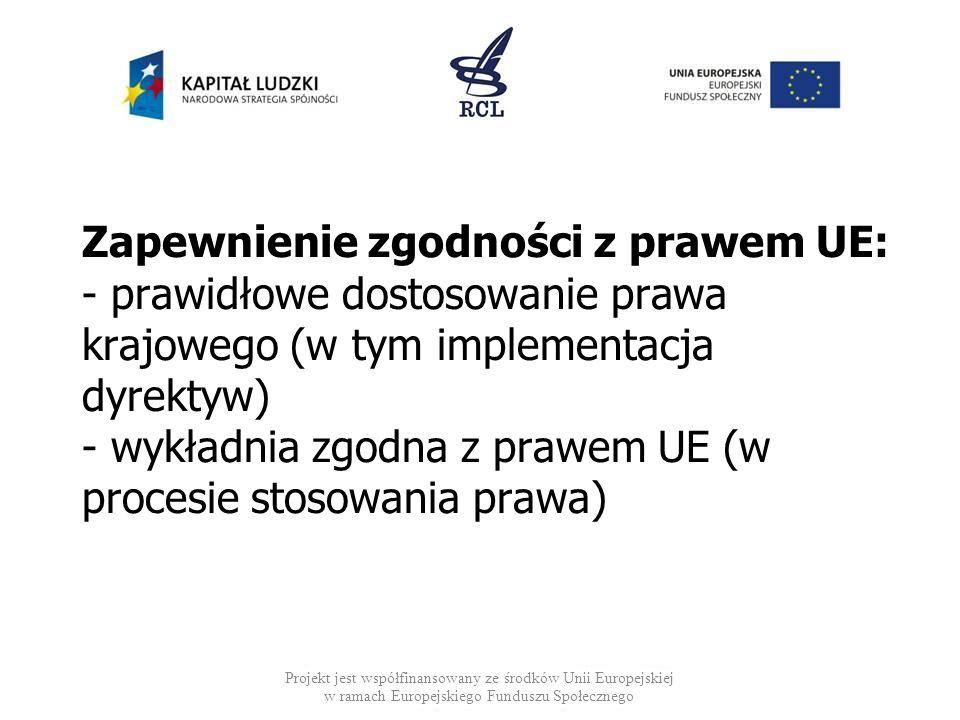 Zapewnienie zgodności z prawem UE: - prawidłowe dostosowanie prawa krajowego (w tym implementacja dyrektyw) - wykładnia zgodna z prawem UE (w procesie stosowania prawa)