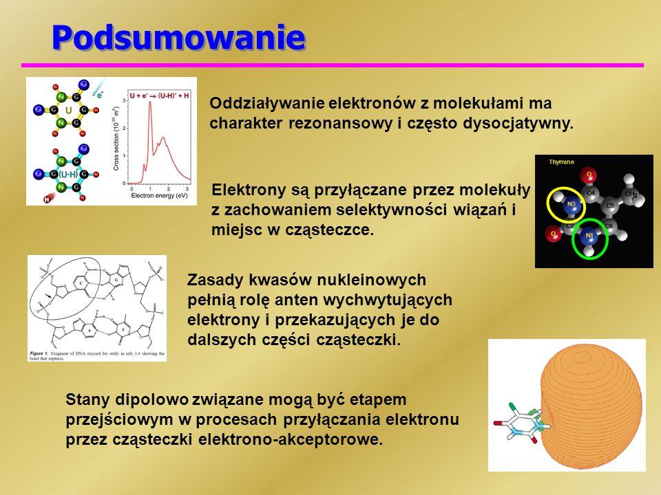 PodsumowanieOddziaływanie elektronów z molekułami ma charakter rezonansowy i często dysocjatywny.