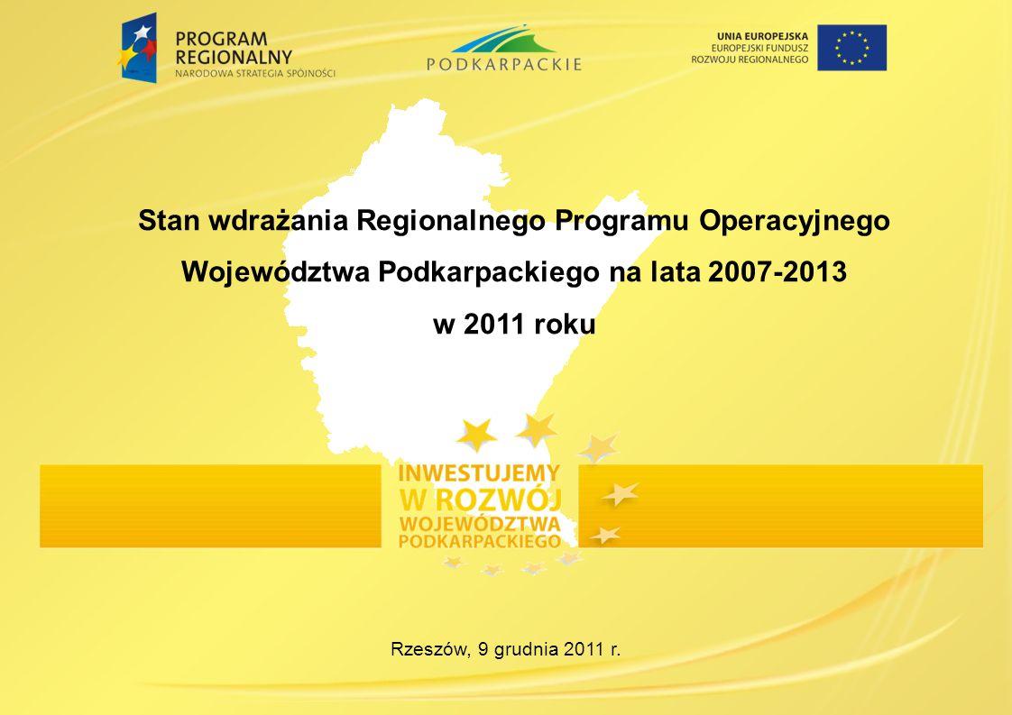 Stan wdrażania Regionalnego Programu Operacyjnego Województwa Podkarpackiego na lata 2007-2013