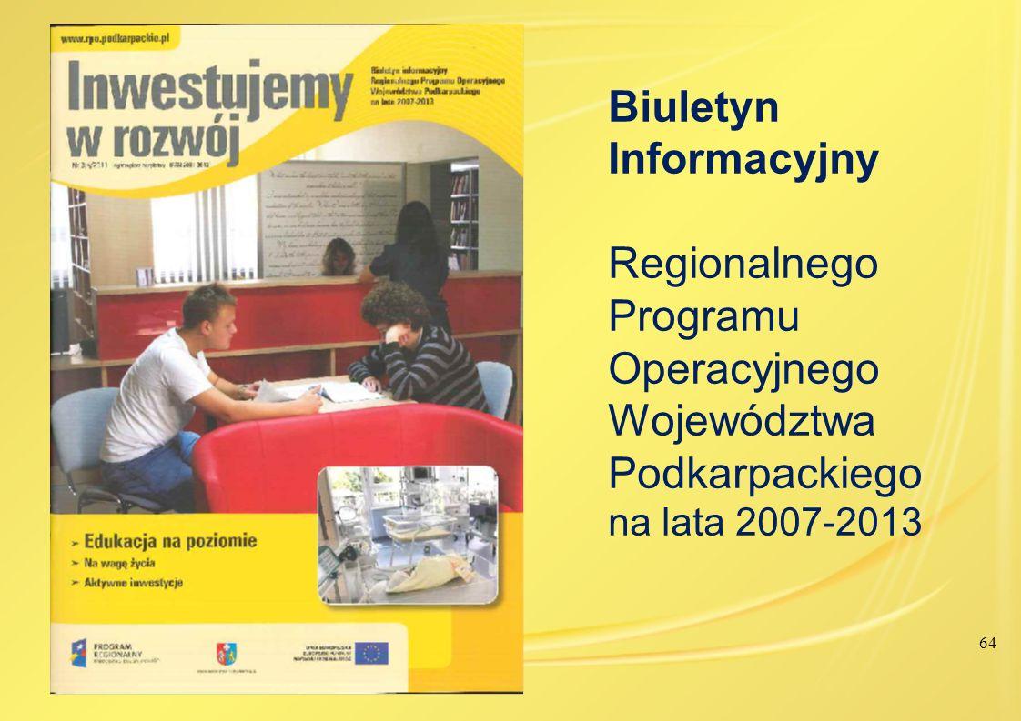 Biuletyn Informacyjny Regionalnego Programu Operacyjnego Województwa