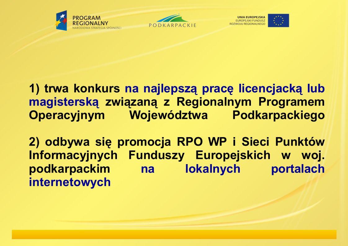 1) trwa konkurs na najlepszą pracę licencjacką lub magisterską związaną z Regionalnym Programem Operacyjnym Województwa Podkarpackiego 2) odbywa się promocja RPO WP i Sieci Punktów Informacyjnych Funduszy Europejskich w woj.