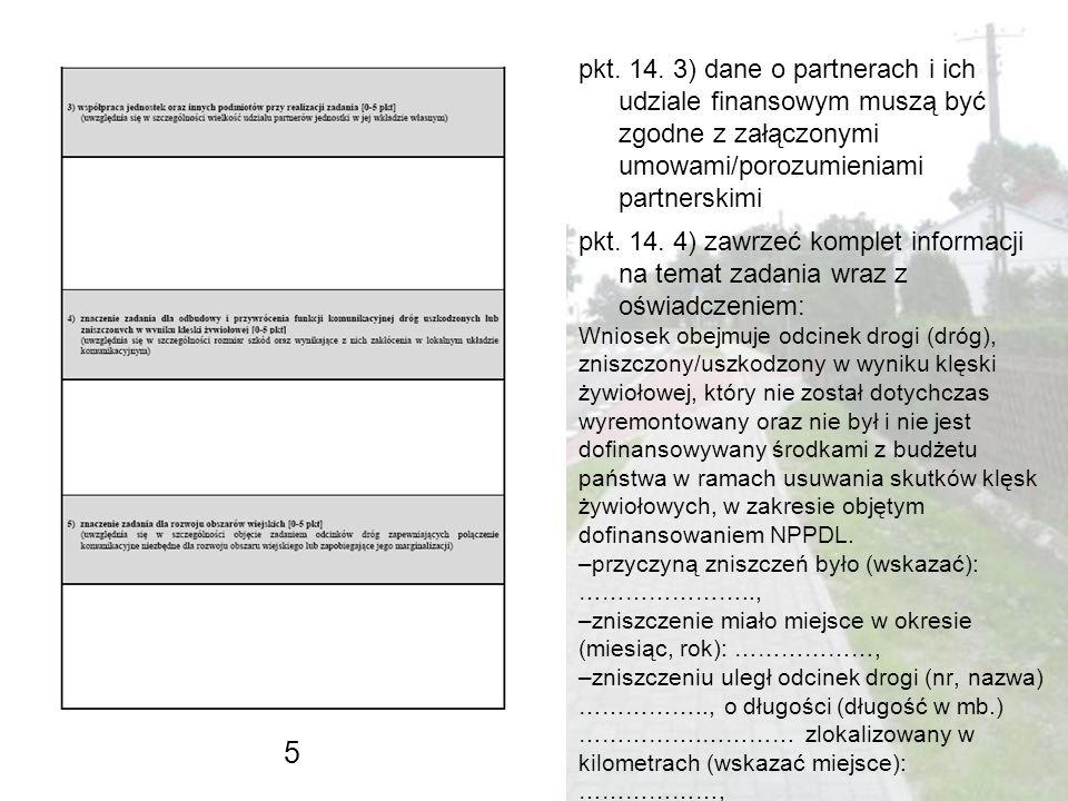 pkt. 14. 3) dane o partnerach i ich udziale finansowym muszą być zgodne z załączonymi umowami/porozumieniami partnerskimi