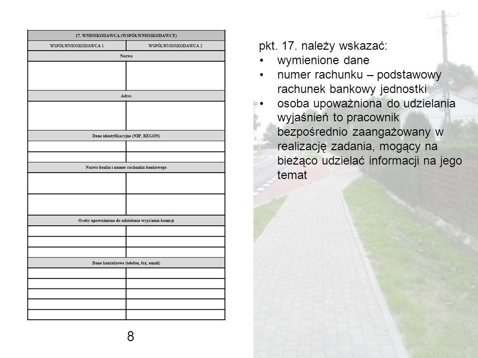 8 pkt. 17. należy wskazać: wymienione dane