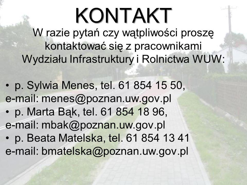 KONTAKT W razie pytań czy wątpliwości proszę kontaktować się z pracownikami Wydziału Infrastruktury i Rolnictwa WUW: