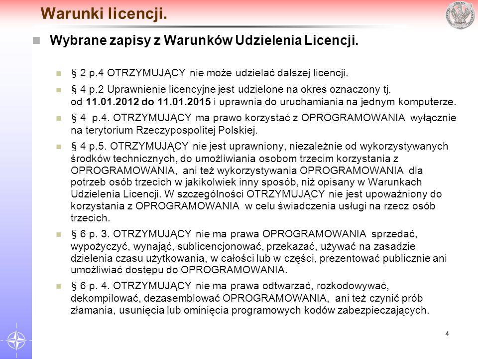Warunki licencji. Wybrane zapisy z Warunków Udzielenia Licencji.