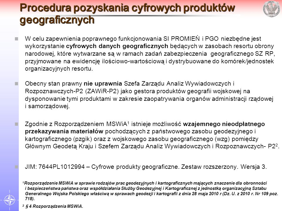 Procedura pozyskania cyfrowych produktów geograficznych