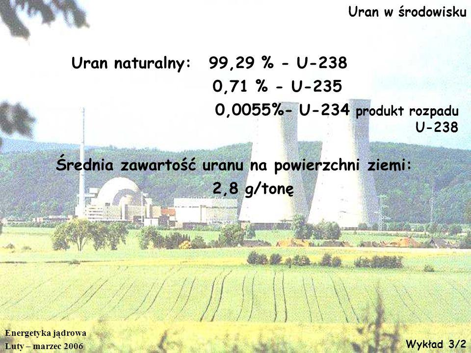 Średnia zawartość uranu na powierzchni ziemi: 2,8 g/tonę