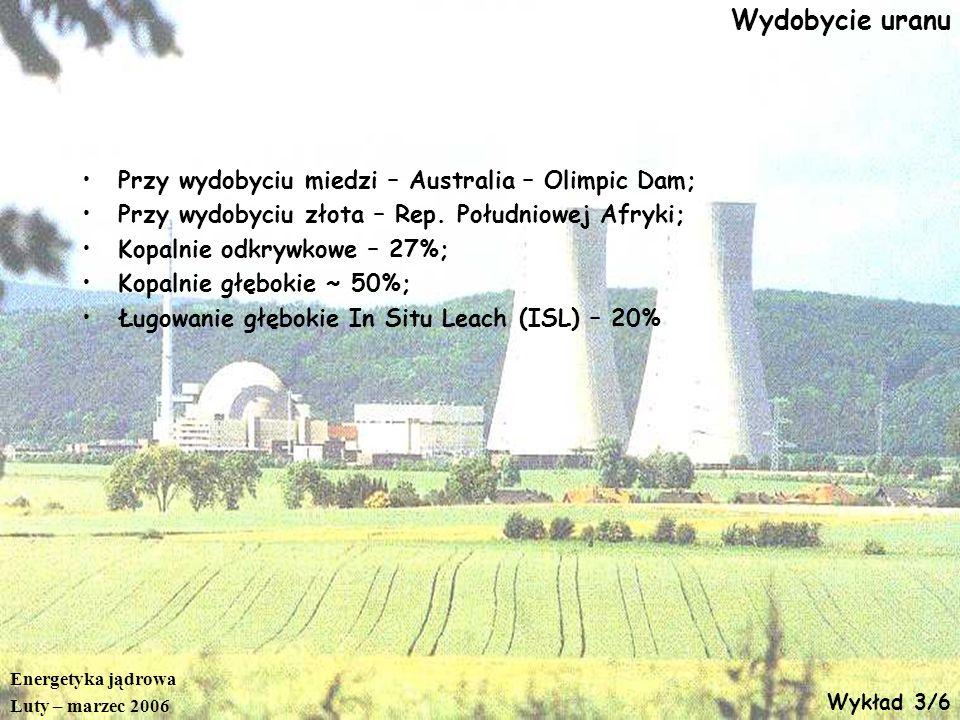 Wydobycie uranu Przy wydobyciu miedzi – Australia – Olimpic Dam;