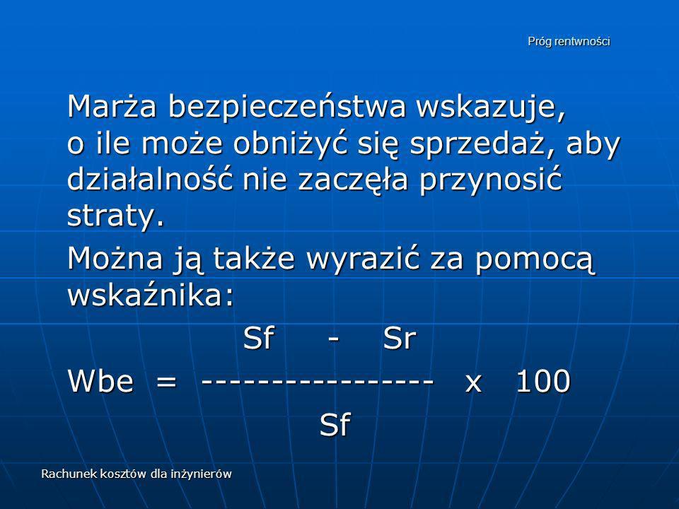 Można ją także wyrazić za pomocą wskaźnika: Sf - Sr