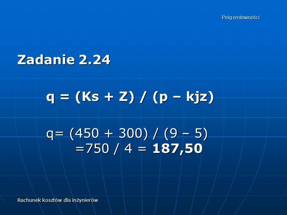 Zadanie 2.24 q = (Ks + Z) / (p – kjz)