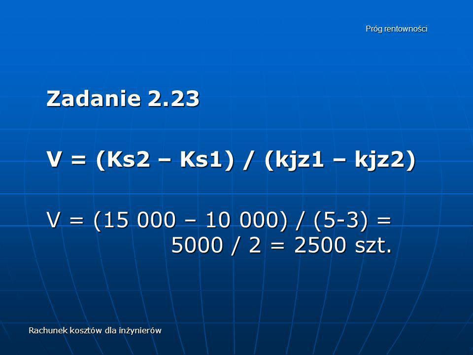 Zadanie 2.23 V = (Ks2 – Ks1) / (kjz1 – kjz2)