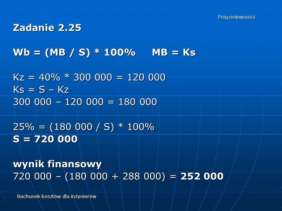 Zadanie 2.25 Wb = (MB / S) * 100% MB = Ks Kz = 40% * 300 000 = 120 000