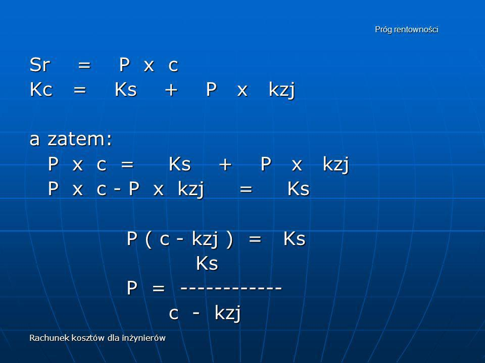 Sr = P x c Kc = Ks + P x kzj a zatem: P x c = Ks + P x kzj