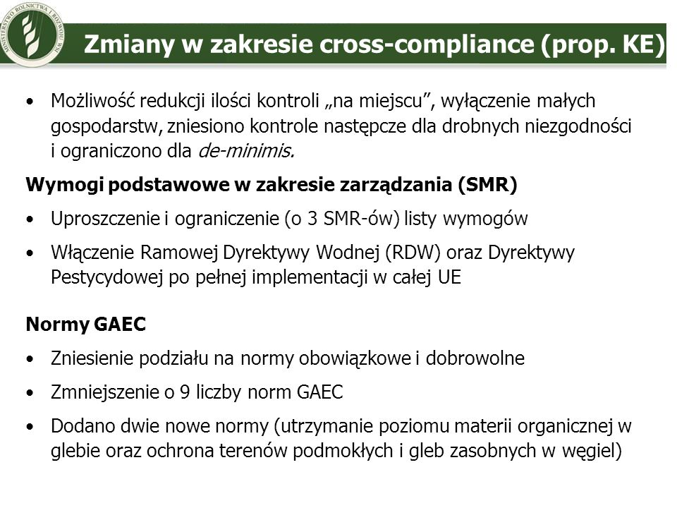 Zmiany w zakresie cross-compliance (prop. KE)