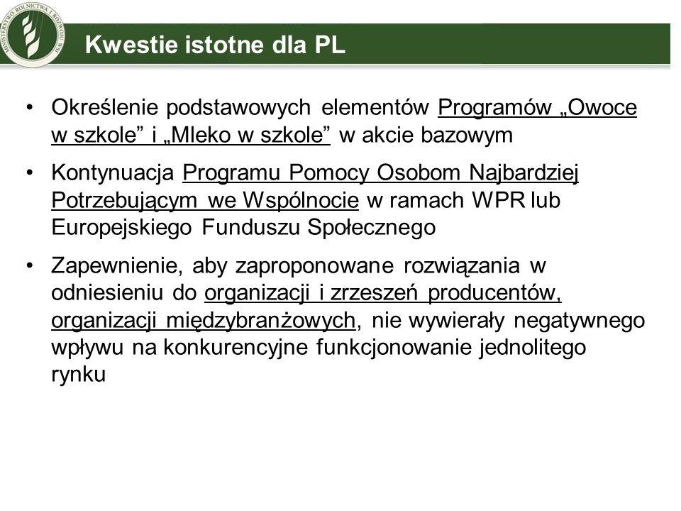 """Kwestie istotne dla PLOkreślenie podstawowych elementów Programów """"Owoce w szkole i """"Mleko w szkole w akcie bazowym."""