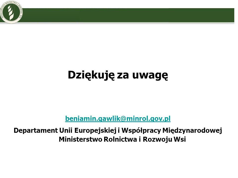 Dziękuję za uwagę beniamin.gawlik@minrol.gov.pl