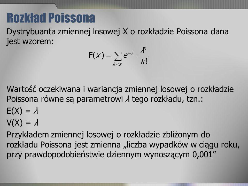Rozkład Poissona Dystrybuanta zmiennej losowej X o rozkładzie Poissona dana jest wzorem: