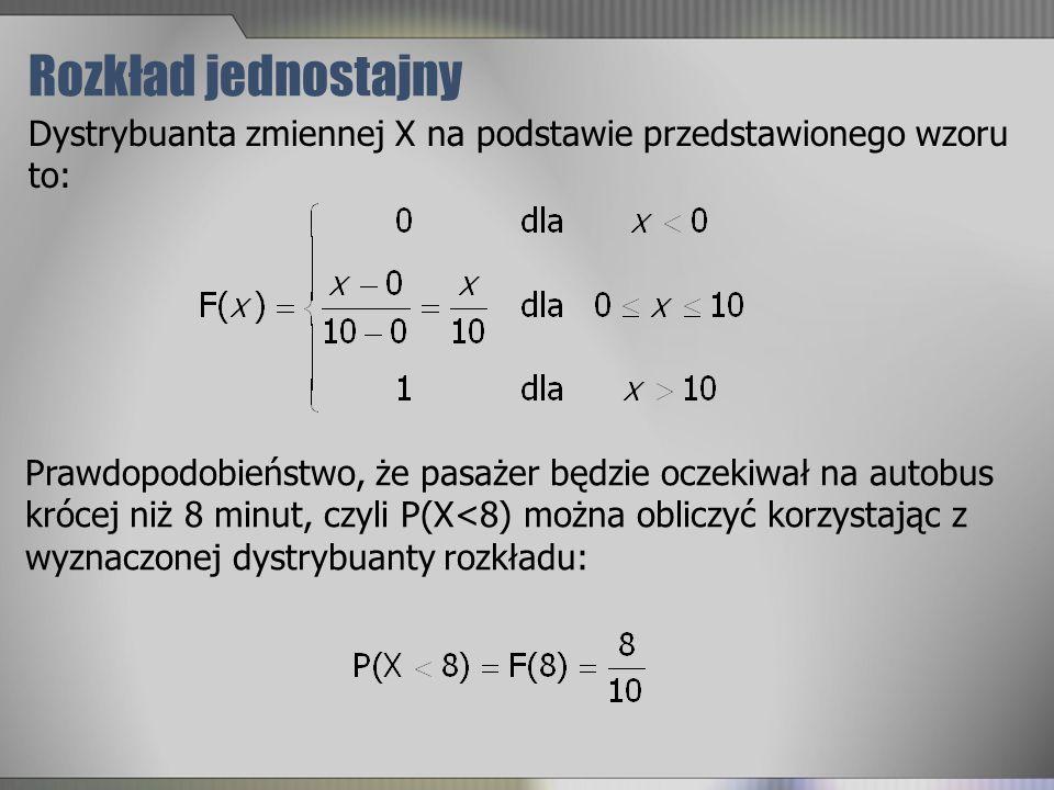 Rozkład jednostajny Dystrybuanta zmiennej X na podstawie przedstawionego wzoru to: