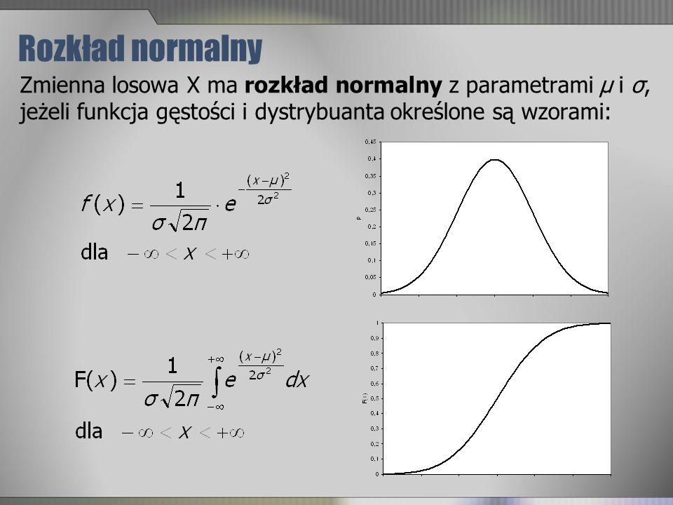 Rozkład normalny Zmienna losowa X ma rozkład normalny z parametrami μ i σ, jeżeli funkcja gęstości i dystrybuanta określone są wzorami: