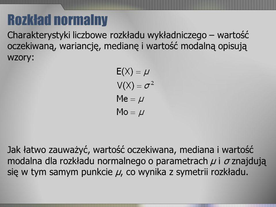 Rozkład normalny Charakterystyki liczbowe rozkładu wykładniczego – wartość oczekiwaną, wariancję, medianę i wartość modalną opisują wzory: