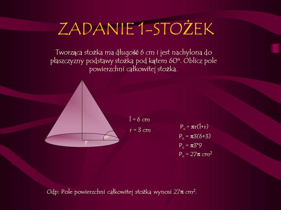 Odp: Pole powierzchni całkowitej stożka wynosi 27π cm2.