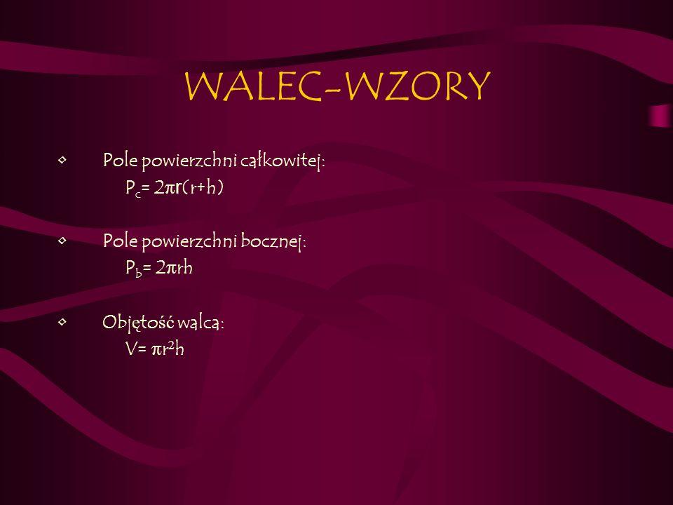 WALEC-WZORY Pole powierzchni całkowitej: Pc= 2πr(r+h)