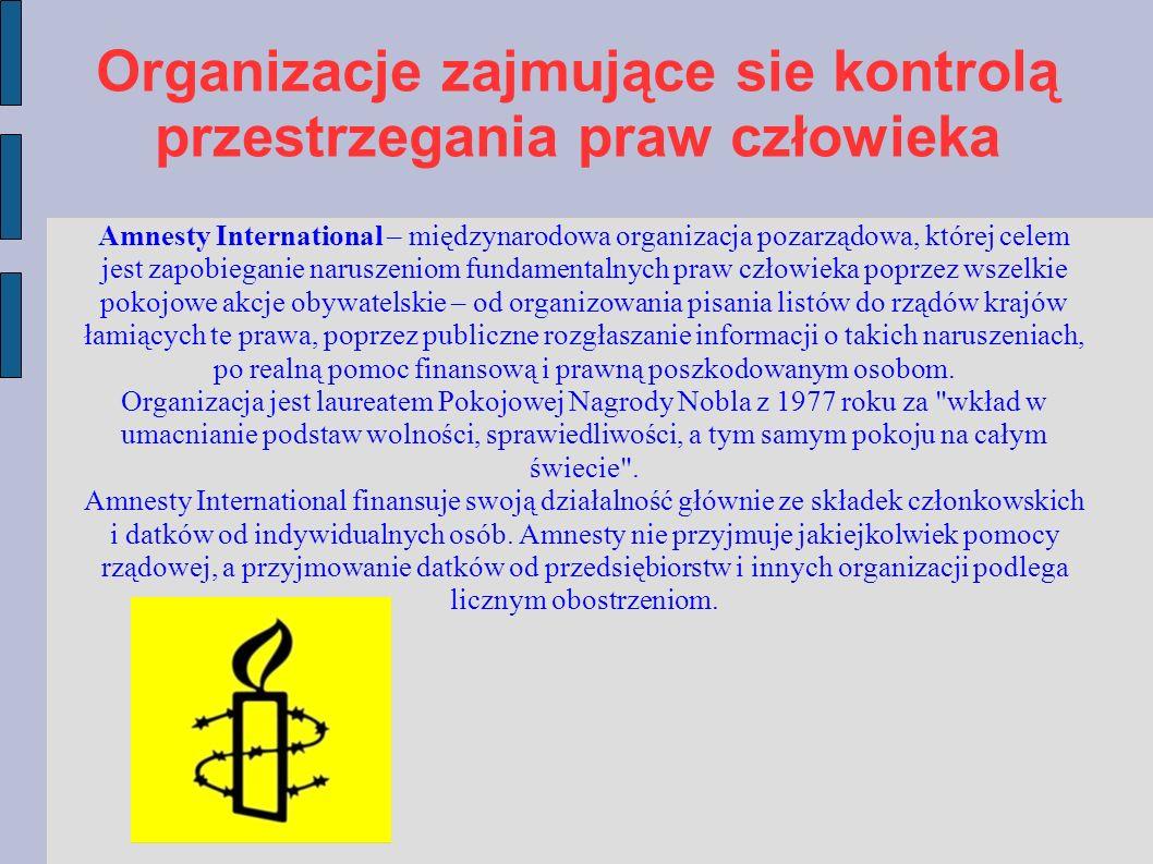 Organizacje zajmujące sie kontrolą przestrzegania praw człowieka