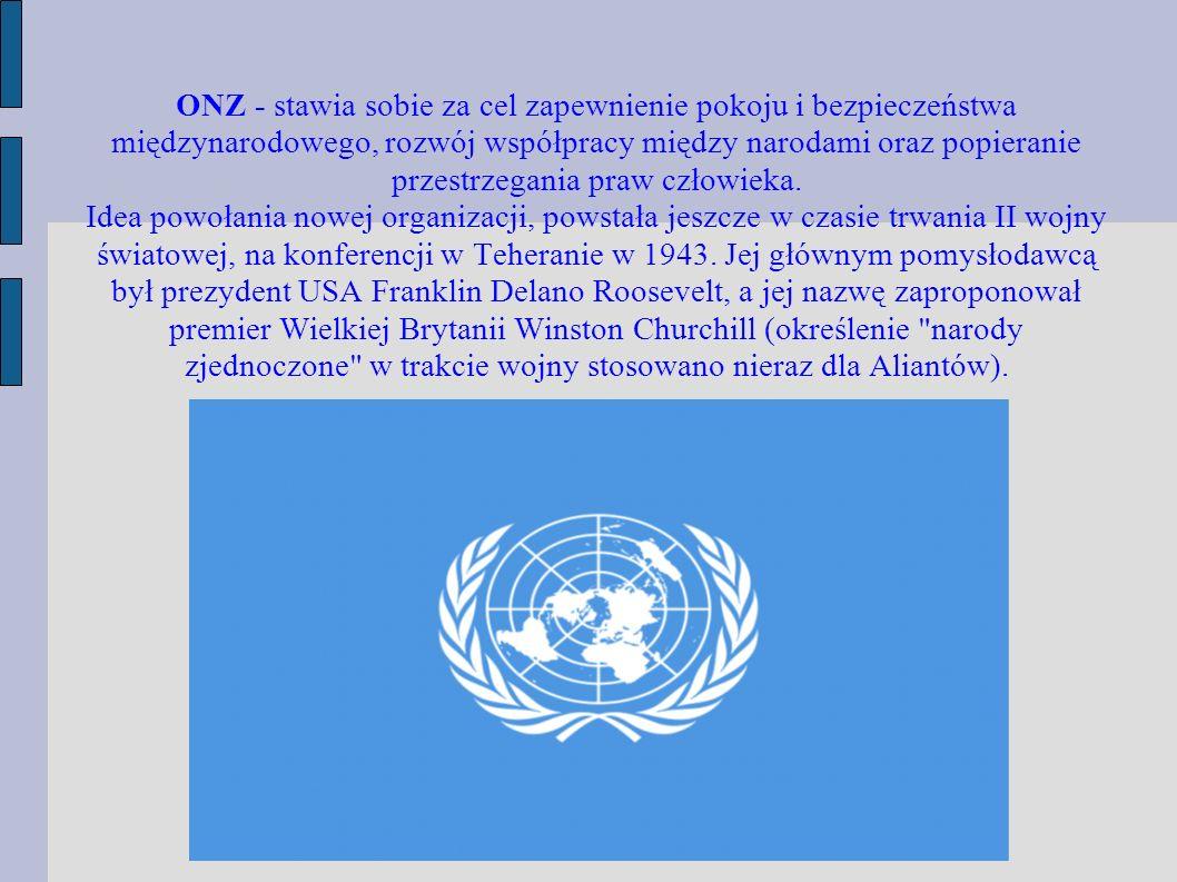ONZ - stawia sobie za cel zapewnienie pokoju i bezpieczeństwa międzynarodowego, rozwój współpracy między narodami oraz popieranie przestrzegania praw człowieka.