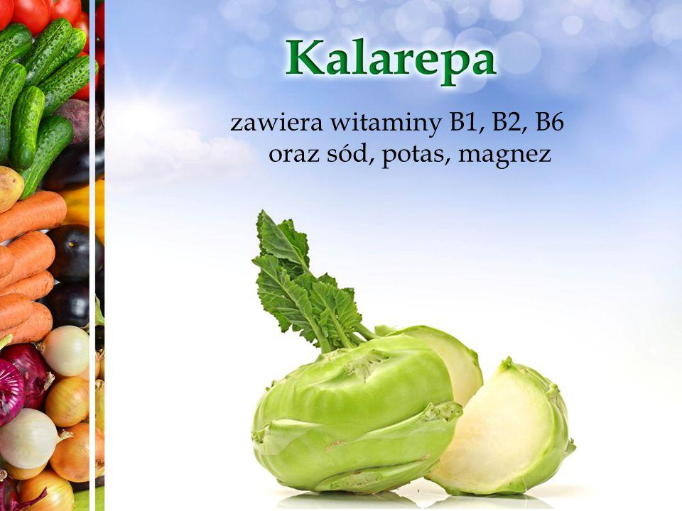 zawiera witaminy B1, B2, B6 oraz sód, potas, magnez