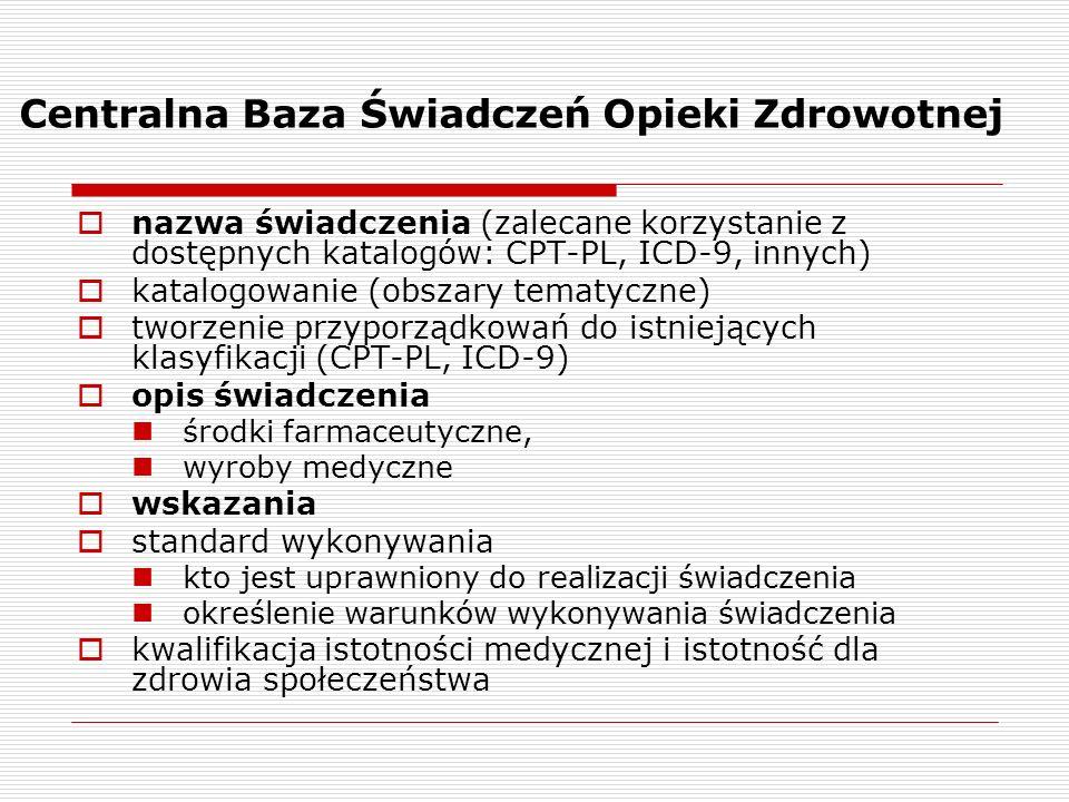 Centralna Baza Świadczeń Opieki Zdrowotnej